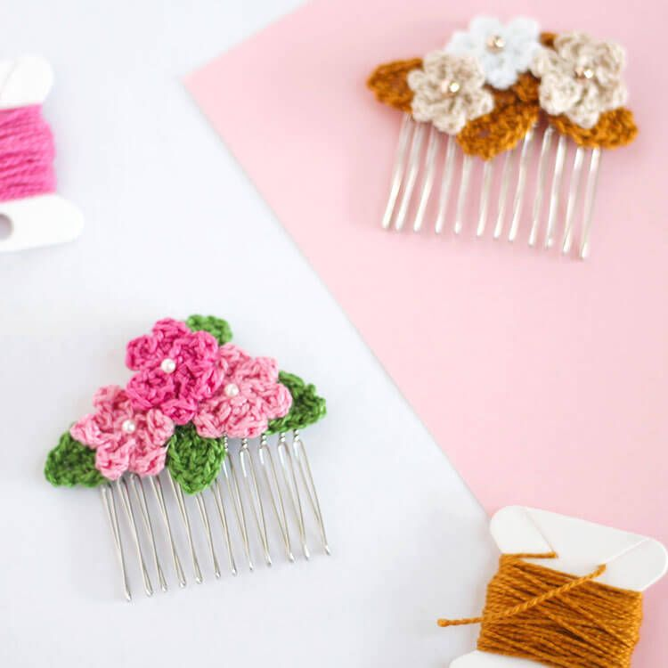 Make Crochet Flower Hair Combs Flower Hair Crochet Flowers And