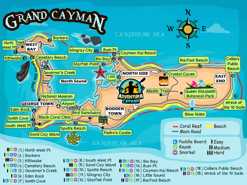 Find the best Things to do in Grand Cayman - Map of Grand Cayman