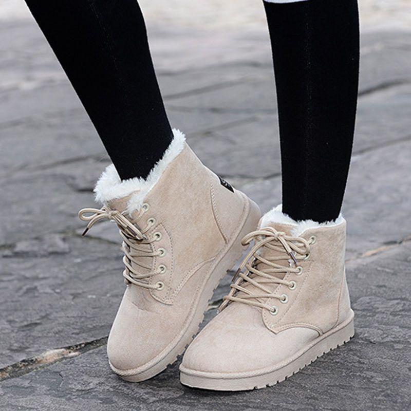 d4863b93a9c Details about Womens Winter Warm Casual Faux Suede Fur Lace-up Ankle ...