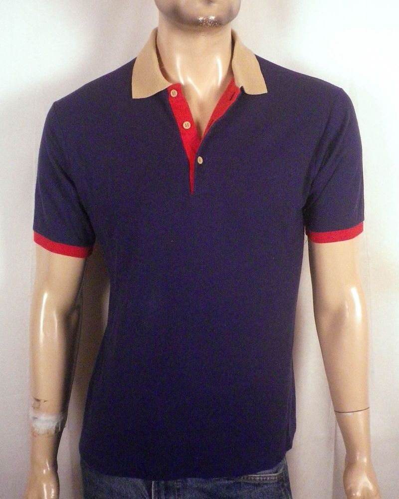Vtg 70s Admit One Navy Blue Ringer Style Polo Shirt Skate Punk Indie