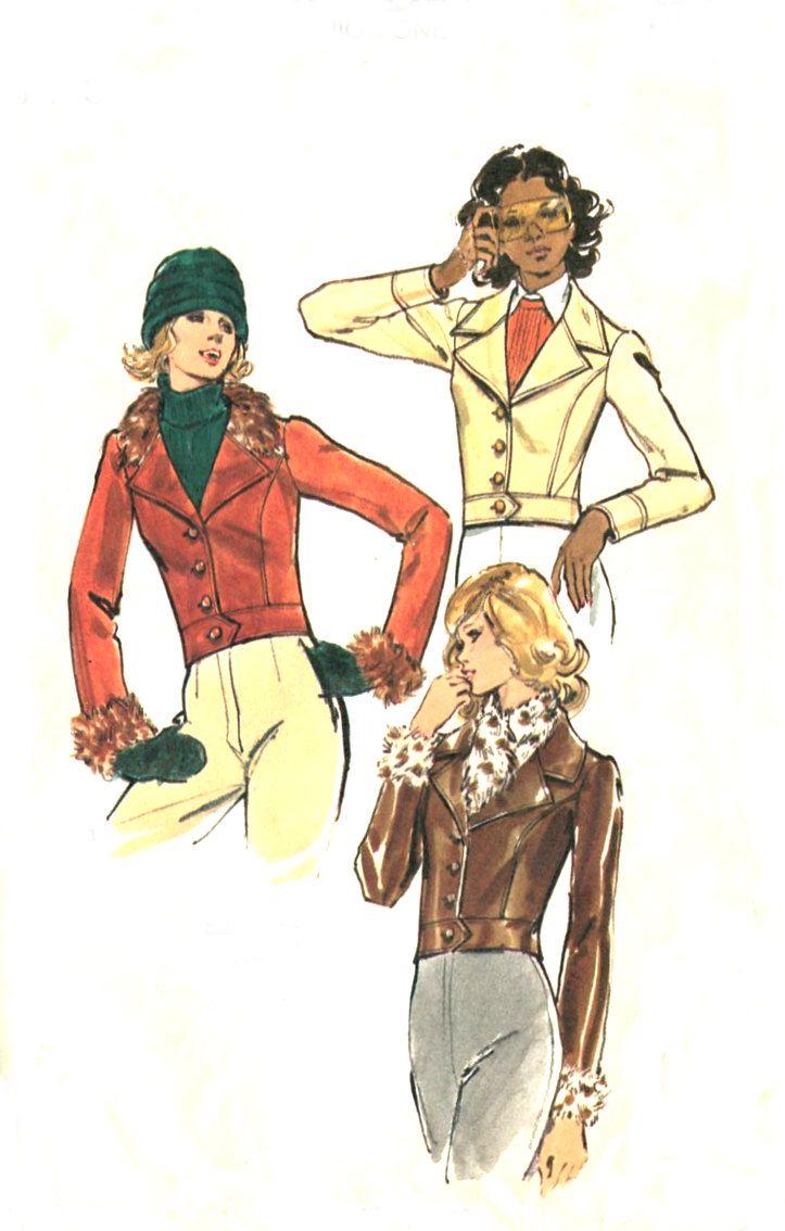 70s Cropped Jacket Pattern - Butterick 3223 - Fur Collar & Cuffs - Size 8 - Uncut. $8.95, via Etsy.