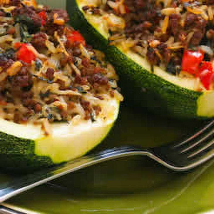 Stuffed Zucchini With Brown Rice Ground Beef Red Pepper And Basil Zucchini Recipes Recipes Brown Rice Recipes