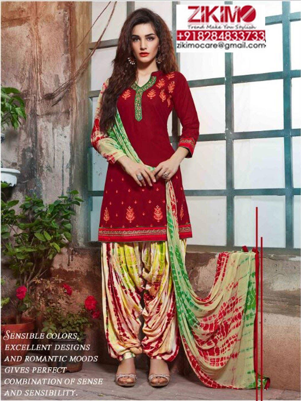 Pure Cambric Cotton Punjabi Salwar kameez at Zikimo