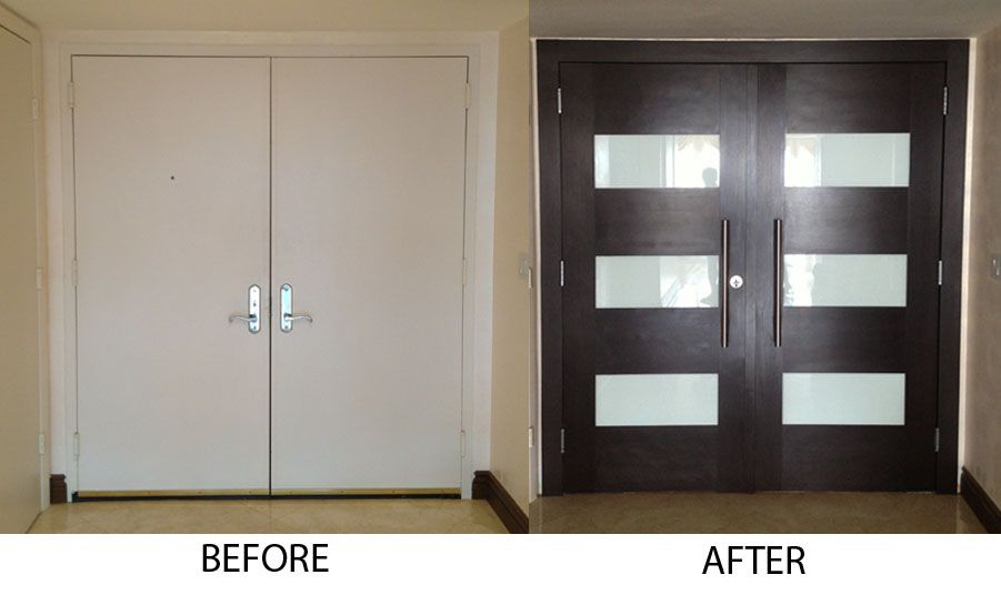Entry Door Refacing Before And After Door Pinterest