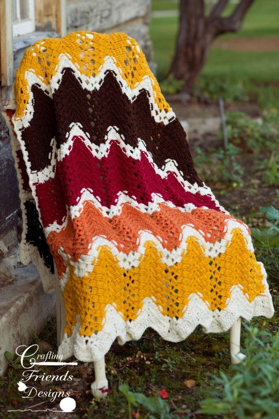 Crochet Pattern, TriSquare Chevron Afghan, Photography Prop, Home ...