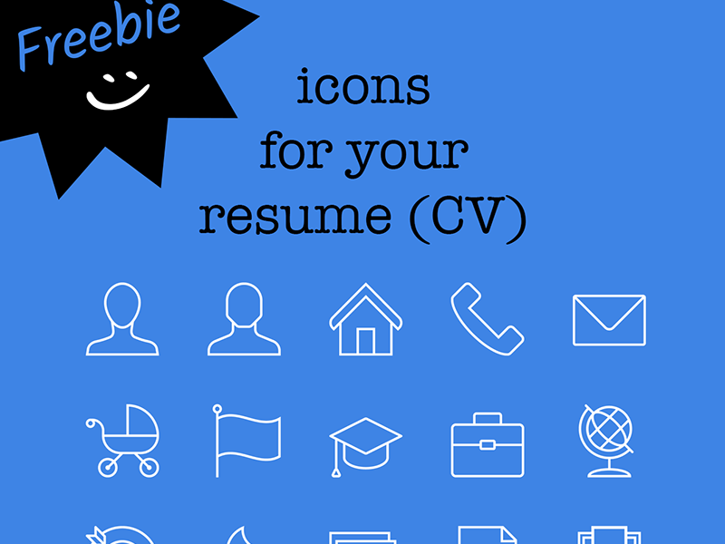 freebie  15 icons for your resume  cv