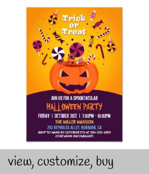 Trick or Treat Jack-O-lantern Halloween Party Invitation |  Trick or Treat Jack-O-lantern Halloween Party Invitation