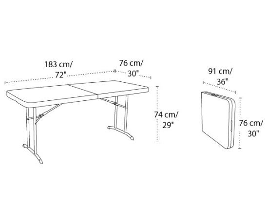 Lifetime Folding Table 80174 Almond Fold In Half Table. This Picture The  Length And Height Of The Table.
