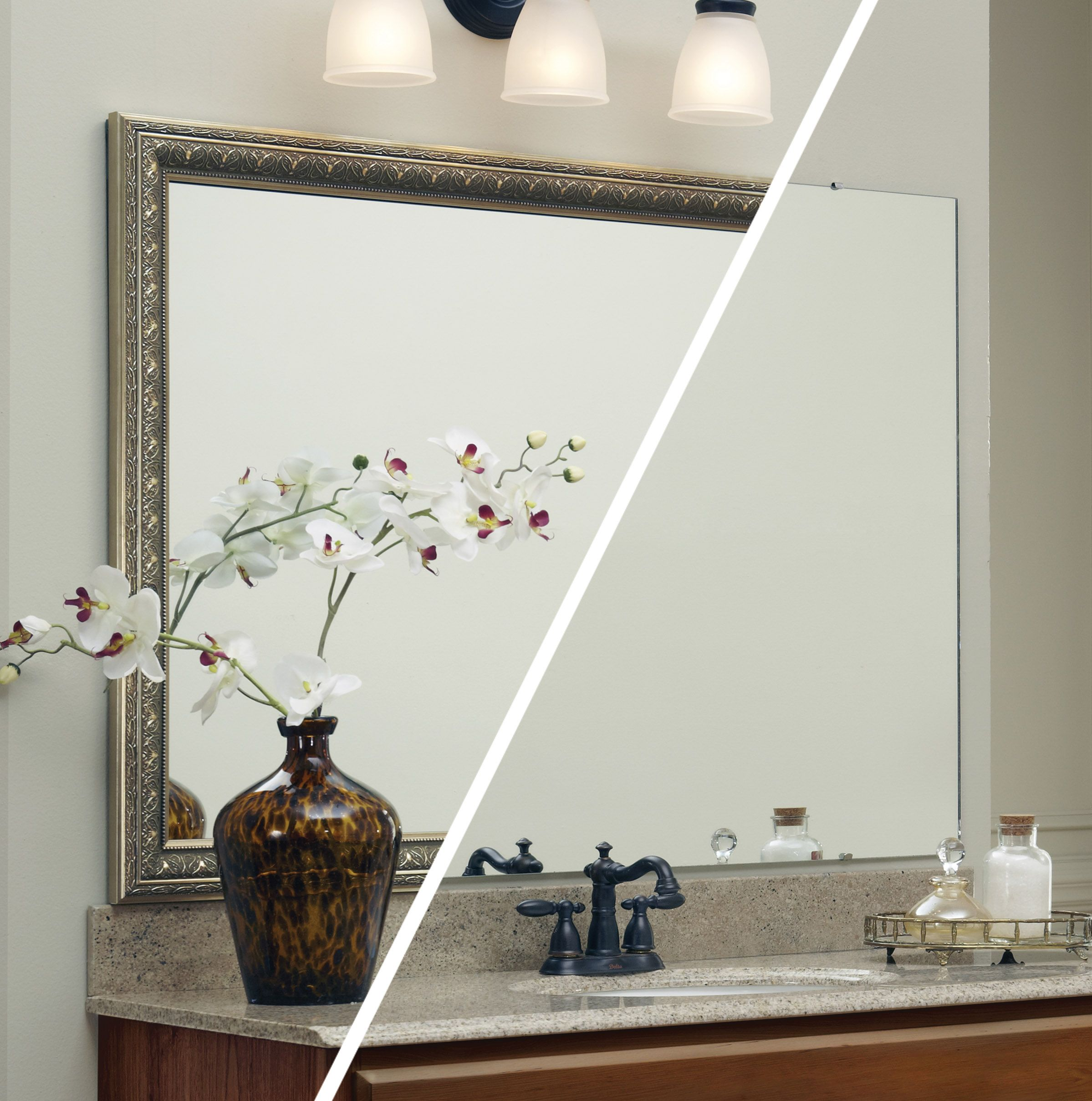 A frame was added to the plate glass mirror -while on the the wall ...