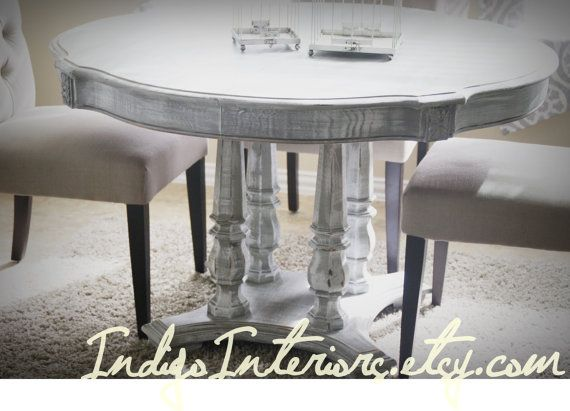 Gray White Washed Round Dining Room Table Kitchen Table By Indigointeriors Etsy Com Round Dining Room Distressed Dining Table Dining Room Table