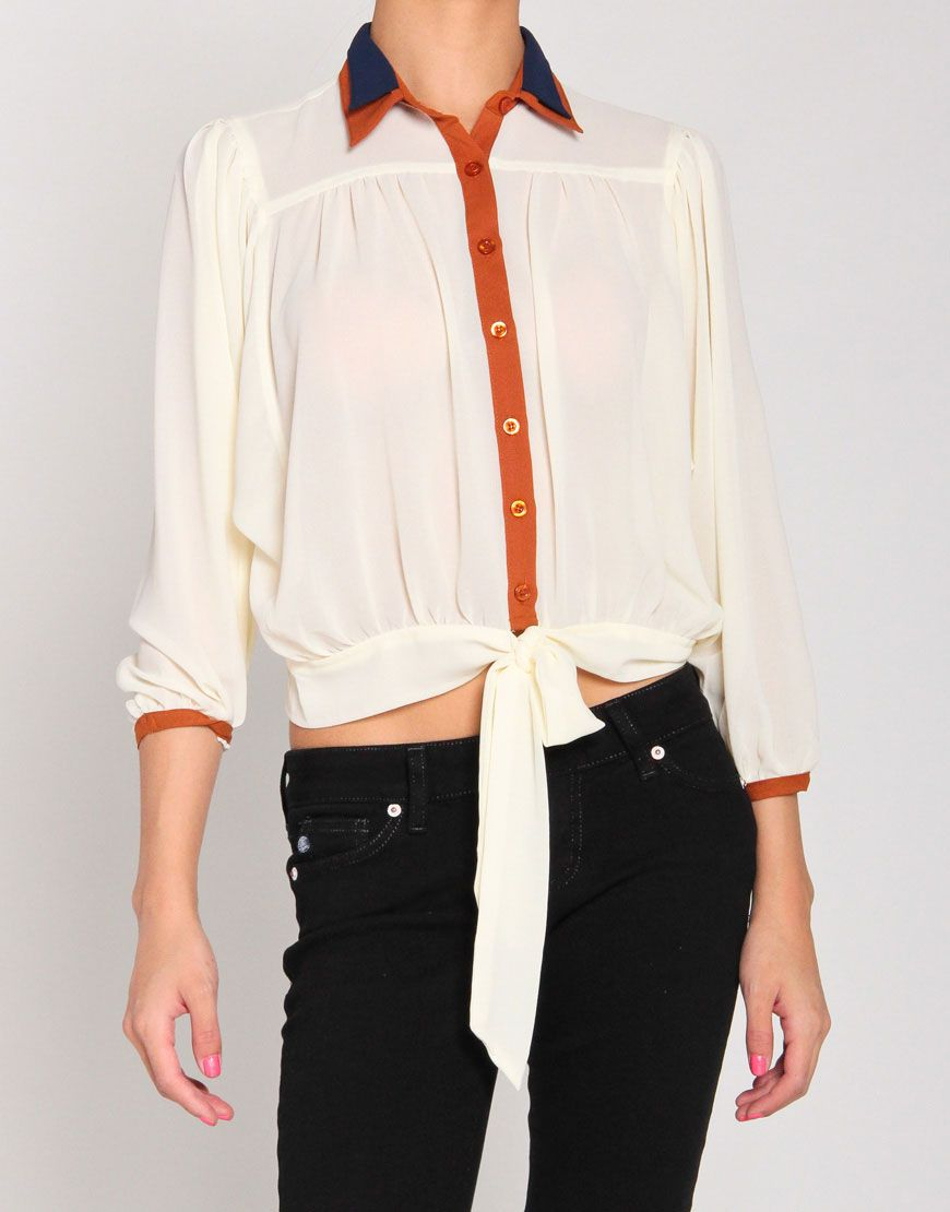 Double Collar Peep-Shoulder Waist Tie Blouse