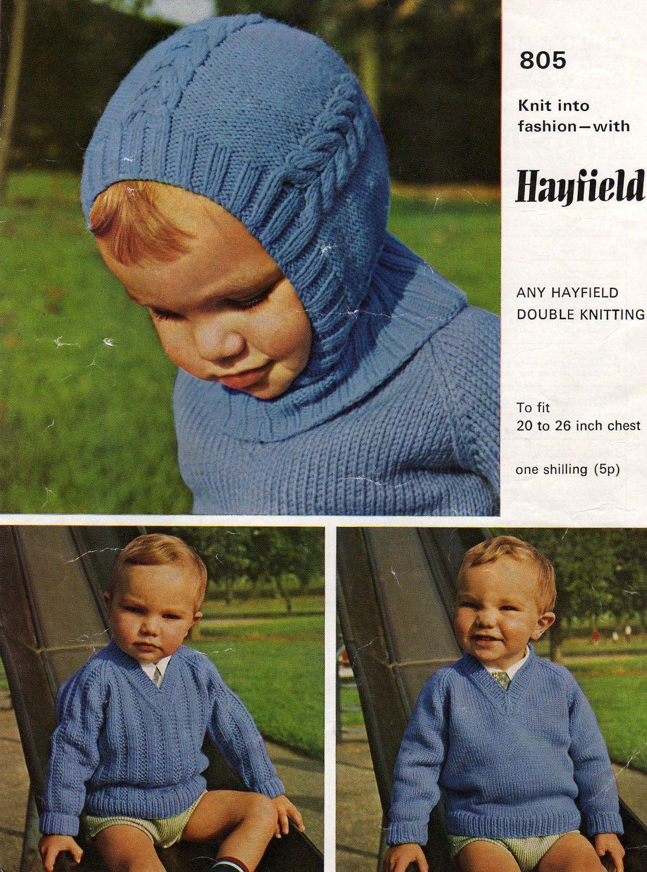 Vintage Baby Helmet, Sweater Pattern, Hayfield 805, Baby Hat Pattern ...
