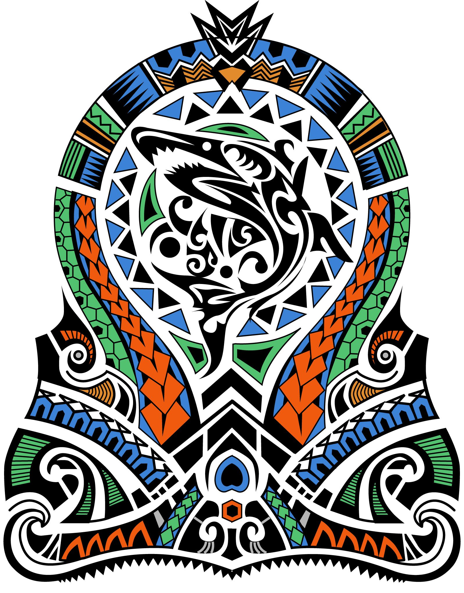 Tribal Tattoo With Color: Polynesian Shark Tribal Maori Half Sleeve Color. Designer