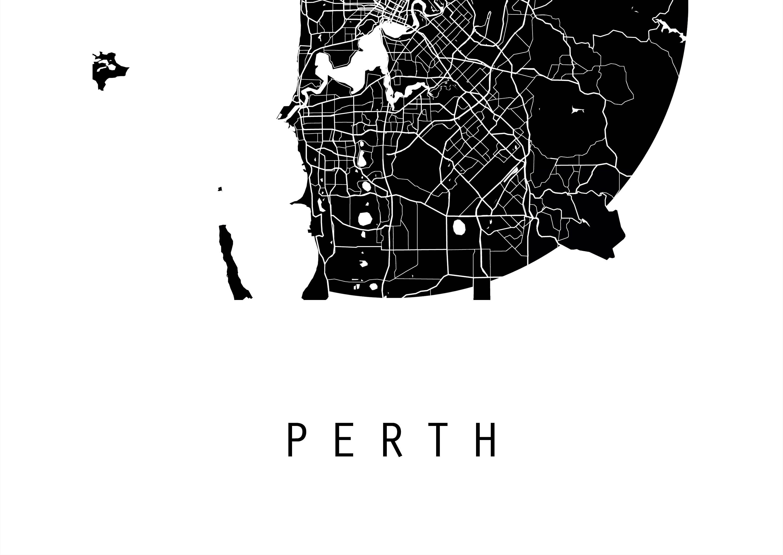 Perth Map Australia Map Victoria Map Maps Black And White Map