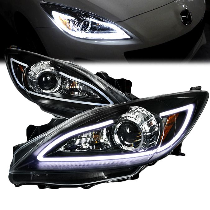 2010 2013 Mazda 3 LED DRL Strip Projector Headlights   Black