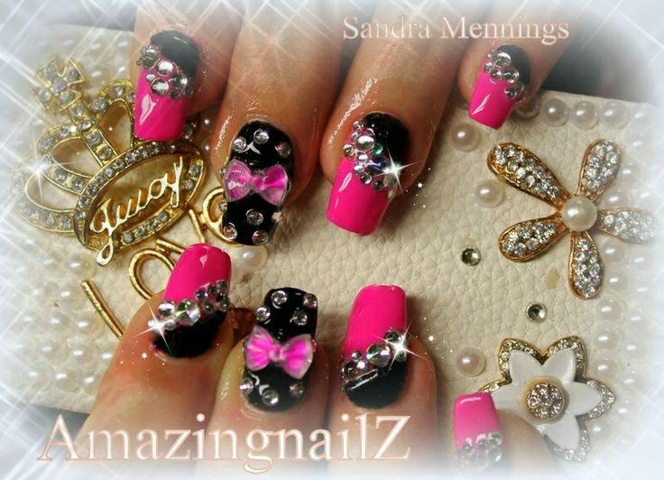 Rinestone Japanese 3D Nail Art | 3d nails rhinestone nail-art | Nail ...