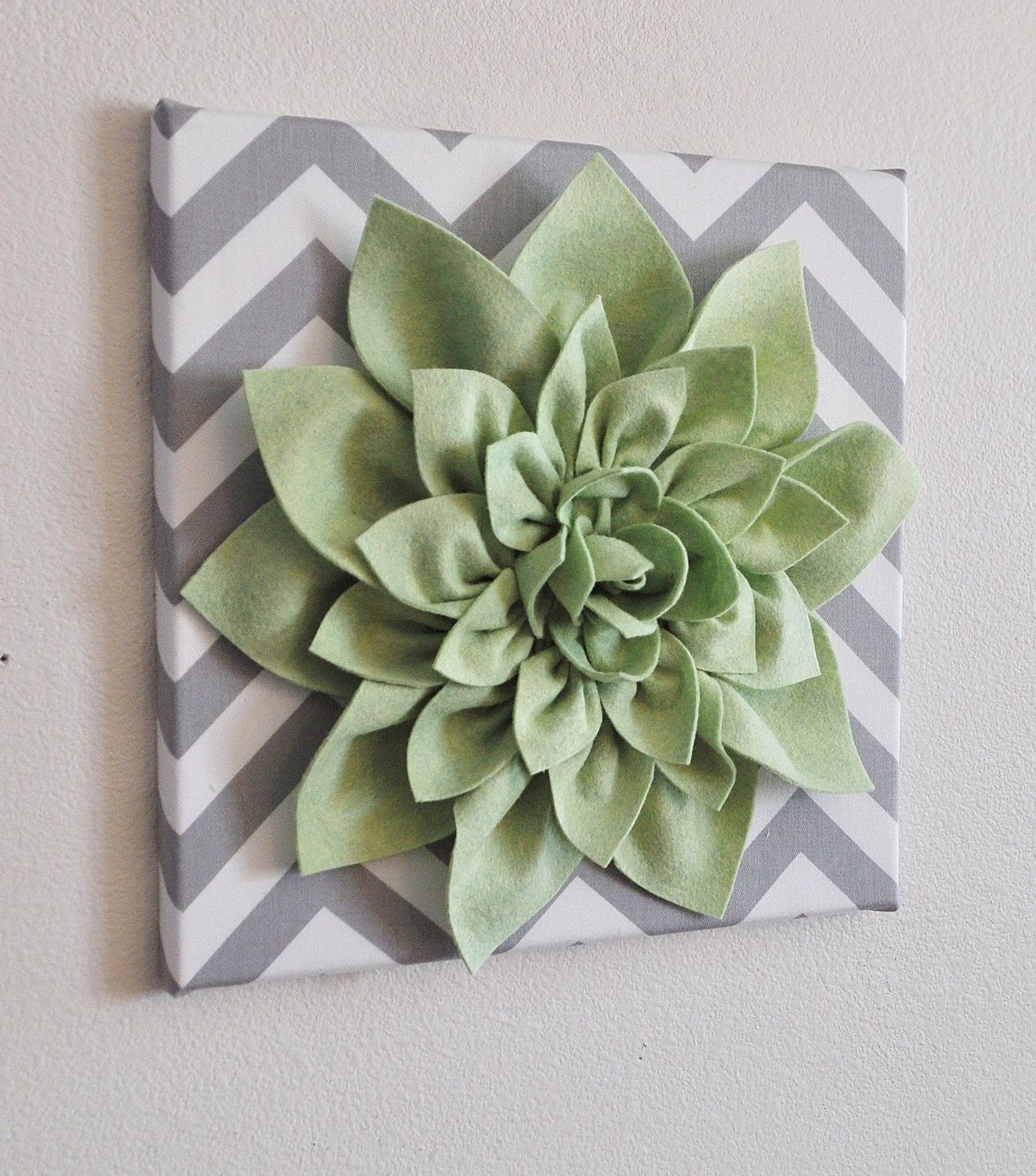 Items Similar To Flower Wall Hanging  Light Green Dahlia On Gray And White  Chevron 12 Canvas Wall Art  Spring Wall Decor On Etsy