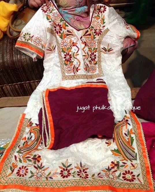 Thread Embroidery On Punjabi Suit Punjabi Suits Pinterest