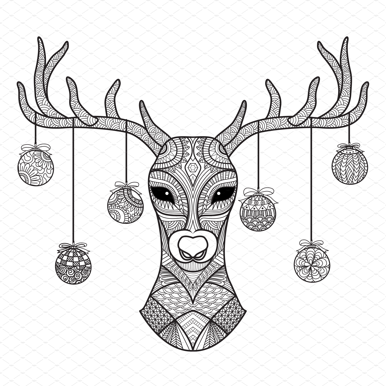 Christmas Zendoodle Deer Deer Coloring Pages Christmas Coloring Pages Coloring Pages