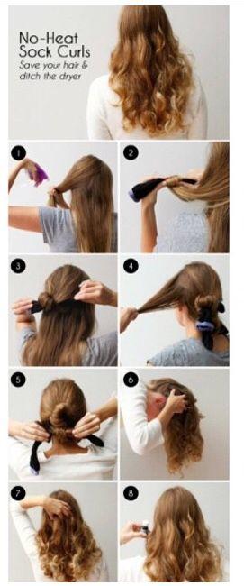 Easy Heatless Sock Bun Curls Hair Haare Und Beauty Haar Ideen