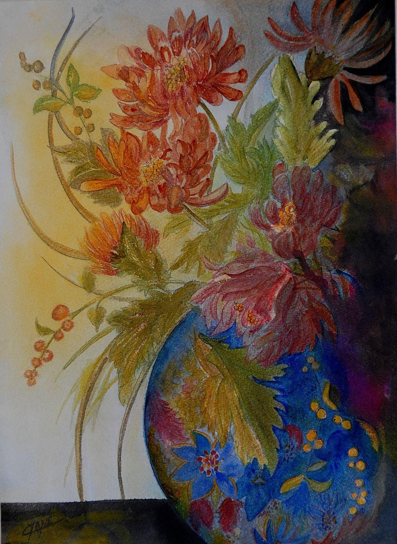 Vase Bleu Aux Chrysanthèmes Japonais Peintures Par Cyane