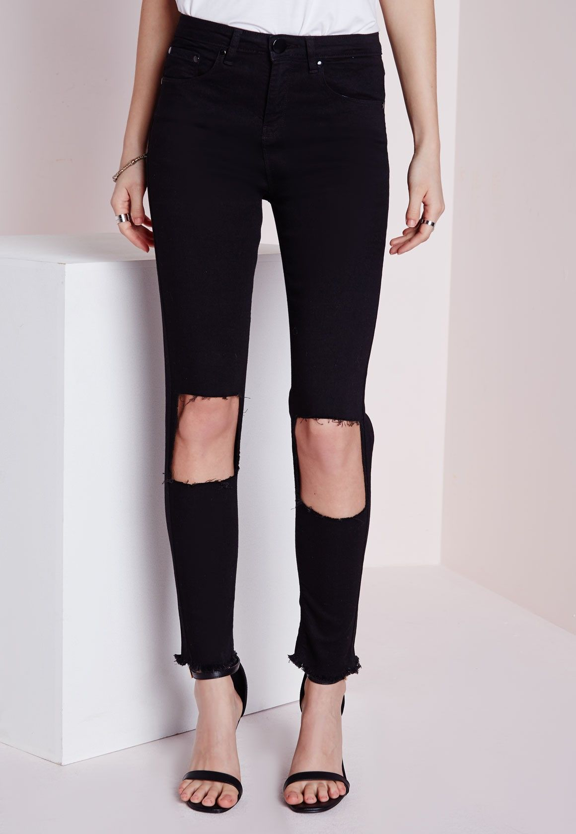 d67614cde9d Missguided - Extreme Cut Out Knee Skinny Jeans Black | fashion hoard ...