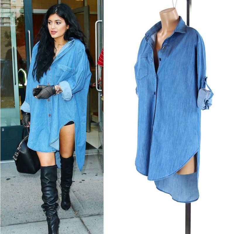 c86c4fdb283 Kylie Jenner Celebrity High Low Hem Tencil Chambray 11802 Oversize Shirt  Dress  Other  ShirtDress  Casual