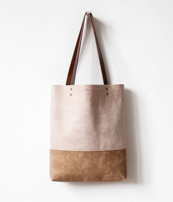Safari Beige Distressed Leather Tote Bag No.tl - 9007
