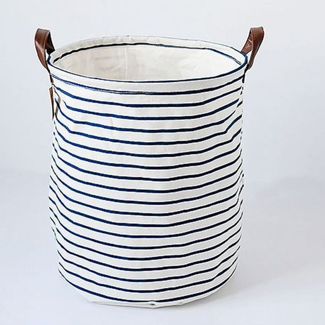 Laundry Bags With Handles Fabric Canvas Blue Stripe Laundry Storage Buckets Bags Foldable