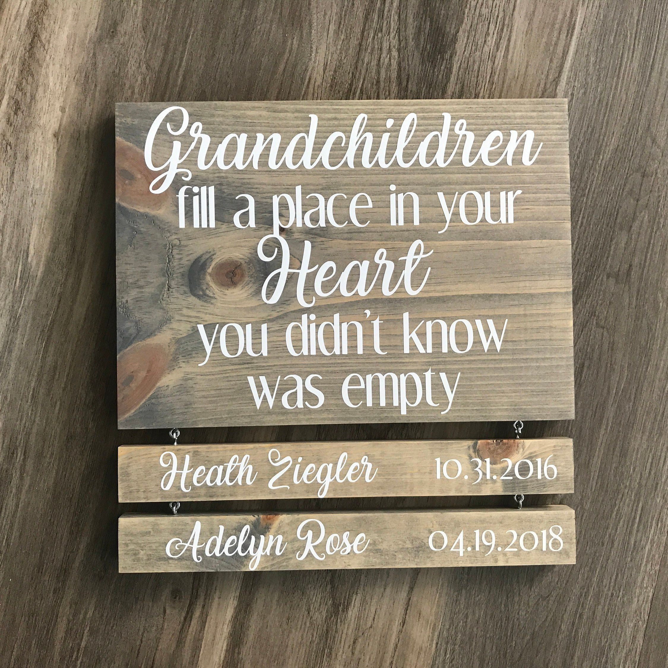 Grandparents Sign with Names - Grandchildren Sign with Name and DOB ...