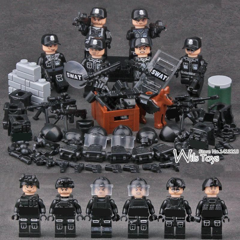 6 pcs Navy MILITARY Soldiers World War 2 Army Seals Team SWAT Special Fit Lego