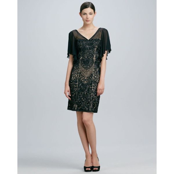 Beaded Flutter-Sleeve Cocktail Dress found on Polyvore