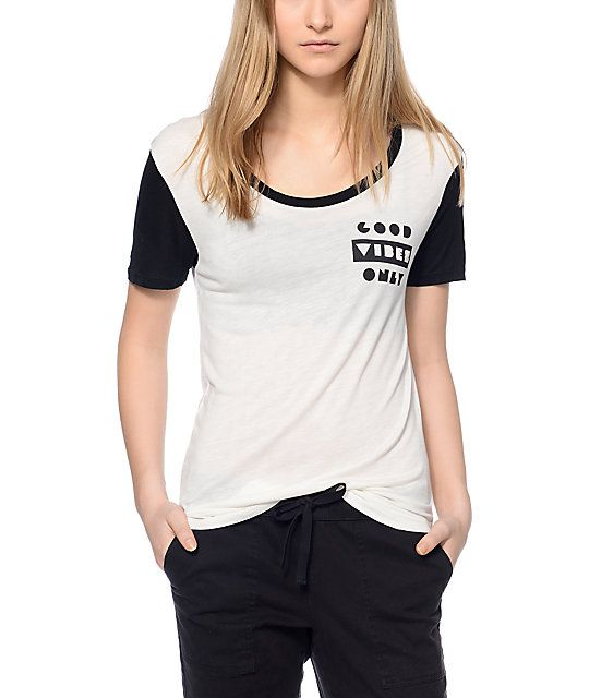 Empyre Jemma Good Vibes Black & White T-Shirt