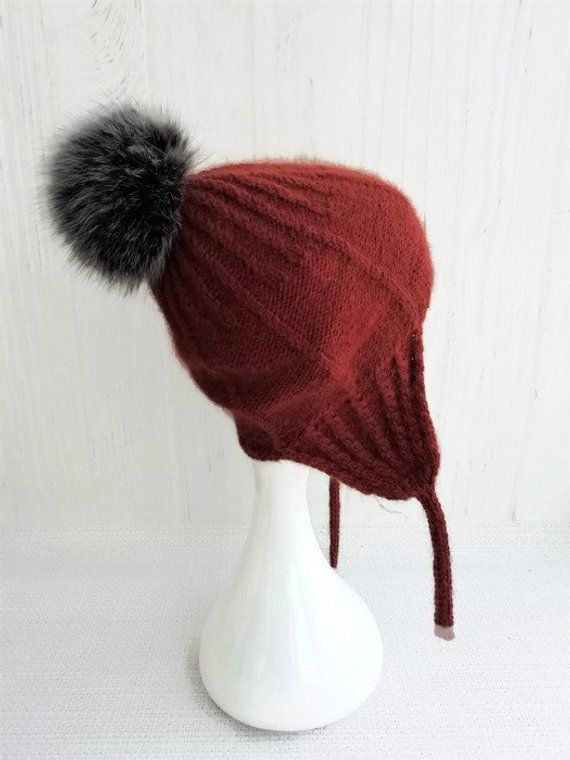 f6224e6dd24 Knit aviator hat covers ears - Beanie with ear flaps women - Wool ski hats  with pom pom for women