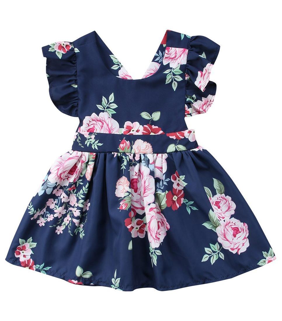 425e60127bed0 Dark Blue Floral Dress | Dress For Your Little Princess | Toddler ...