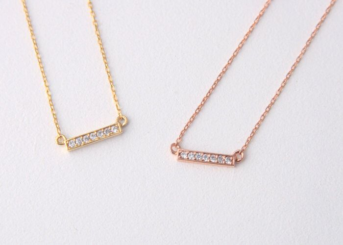 f38c2ba62d9618 Seven Swarovski Bar Necklace Sterling Silver in Rose Gold, Yellow Gold by  kellinsilver on Etsy