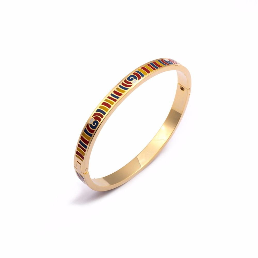 Enamel bangles jewelry k real gold plated mm width stainless