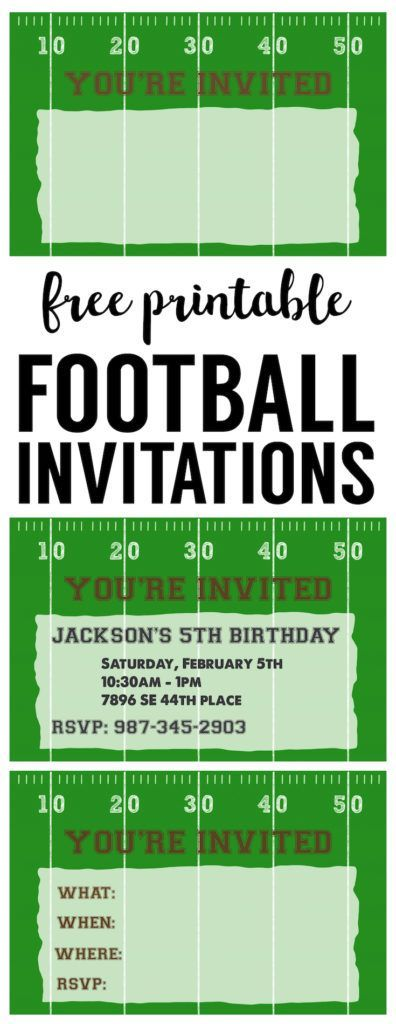 Football Party Invitation Template {Free Printable Football - free birthday party invitation template