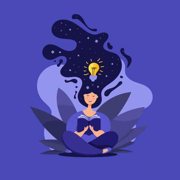 Creative Illustration Of Cute Girl In Lotus Position Reads A Book