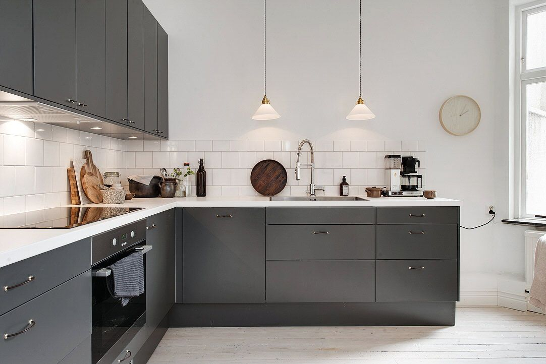 Best Scandinavian Interior Charcoal Gray Kitchen Cabinets 400 x 300