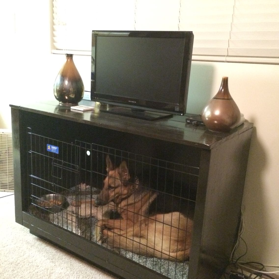 Diy Furniture Dog Crate Tv Stand Dog Bed With Images