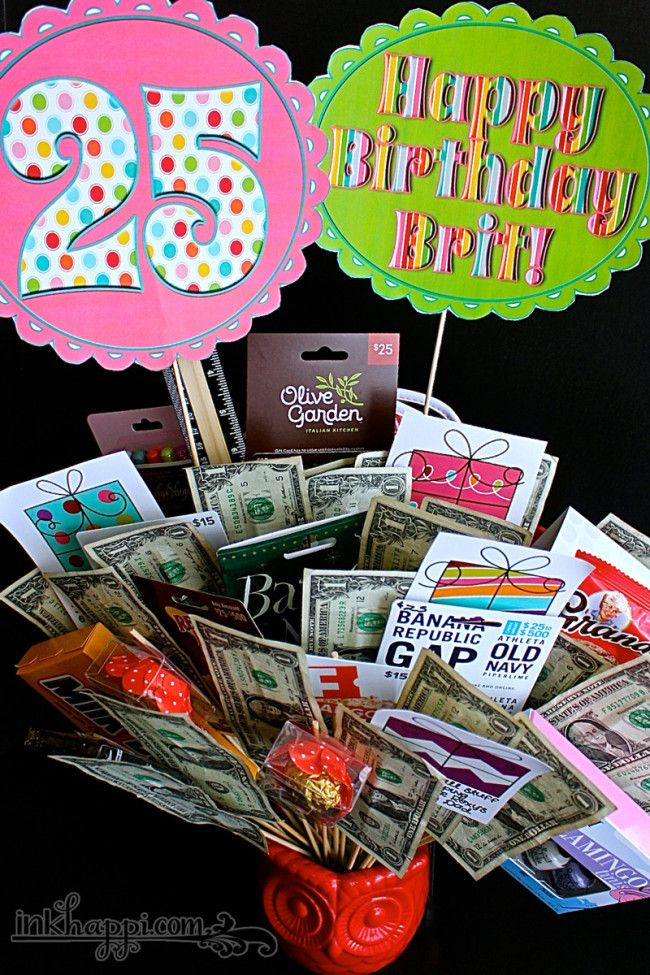 Birthday Gift Basket Idea with Free Printables 25th