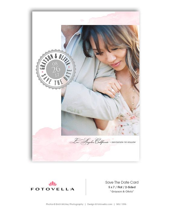 Save The Date Template Wedding Announcement by FOTOVELLA on Etsy - wedding announcement template