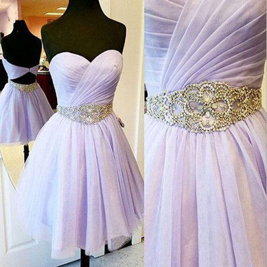 Short lilac sweetheart sparkly evening party graduation homecoming