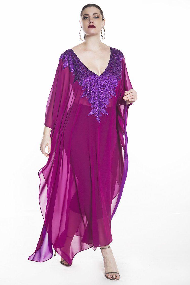 Jibri Fuschia Lace Embellished Maxi Kaftan Maxi Dress With Sleeves Maxi Kaftan Kaftan [ 1125 x 750 Pixel ]