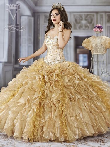 quinceanera dresses gold and white - Google Search | beautiful ...