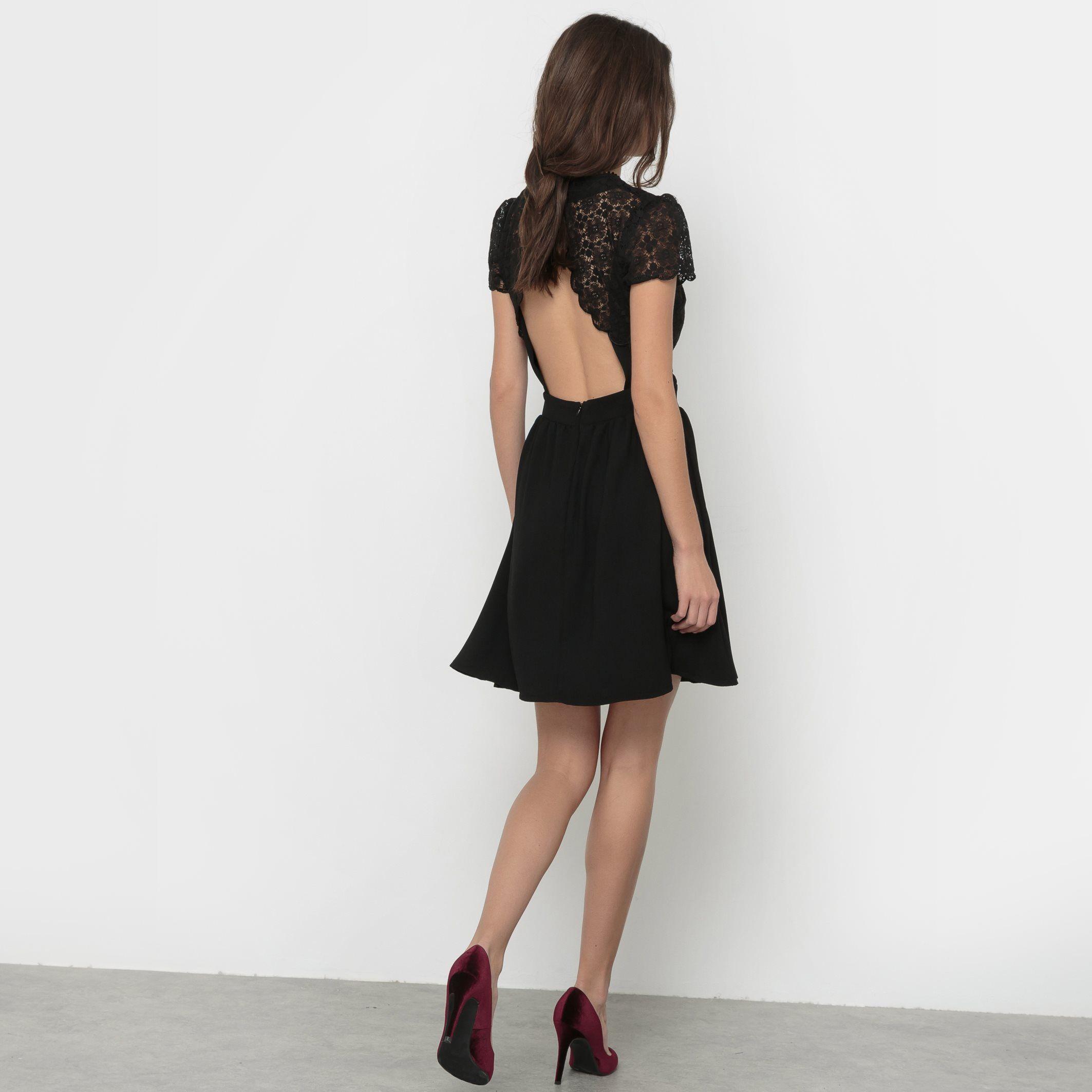 Robe manches courtes haut dentelle Mademoiselle R noir | La Redoute