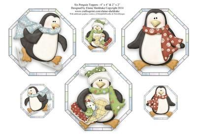 Six Penguin Card Toppers Three 4 x 4 Three 2 x 2  on Craftsuprint designed by Elaine Sheldrake - These fun penguin toppers are perfect for quick card fronts and gift tags. - Now available for download!