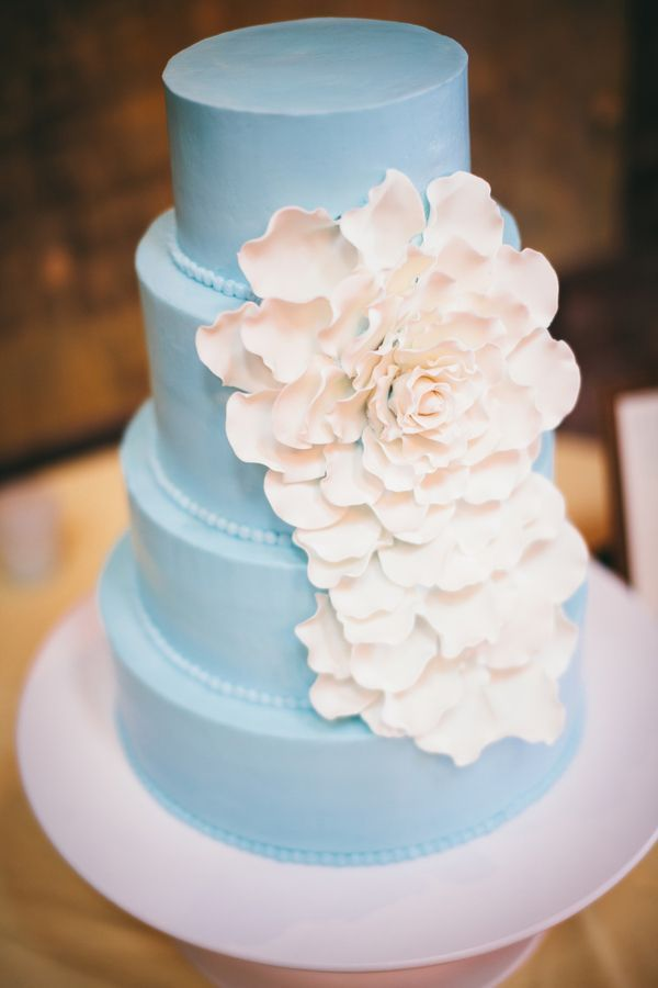 Gorgeous blue wedding cake with beautiful white flower by ashley gorgeous blue wedding cake with beautiful white flower by ashley bakery mightylinksfo