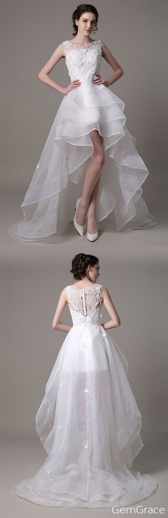 High neck wedding dresses  Elegant Sheath High Neck Kneelength Lace Wedding Dress With Lace